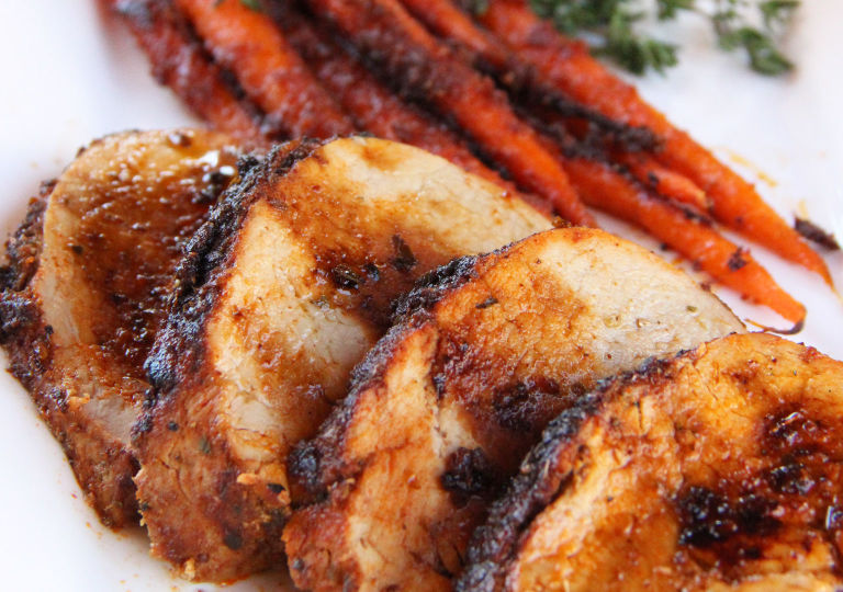 Pork Tenderloin and Roasted Carrots with Harissa Dip